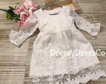 Flower Girl Dress, Three quarter length long sleeve, Ivory Toddle dress