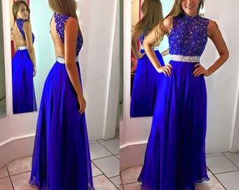 Open Back Royal Blue Prom Dress by Auténtica Boutique