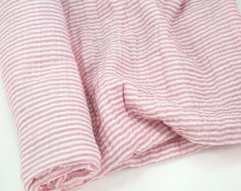 "Muslin Swaddle Blanket in Rose Pink and White Stripe - made from 100% cotton double gauze - 45"" square"