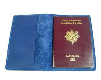 Passport leather blue color