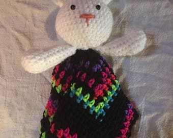Crocheted bunny lovey/security blanket