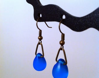 Short earrings drops turquoise