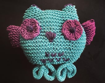 Cuddly OWL knit turquoise/purple