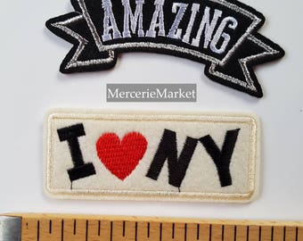 set of 2 badges, patch, fusible, usa, America's love, New York, amazing.