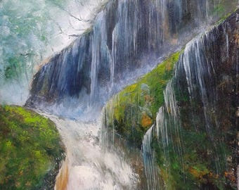 AMAZING WATERS, 50x70cm, rain forest river waterfall landscape