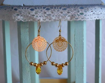 Gold filigree hoops and yellow Swarovski drop