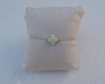 Clover black lime green chain bracelet