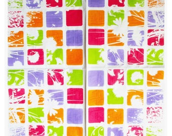 """Napkin for collage decor 40 X 40 """"Square multicolor and white flowers"""" for decoupage and decor items"""