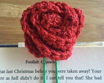 Crochet Glitter Rose paperclip / bookmark