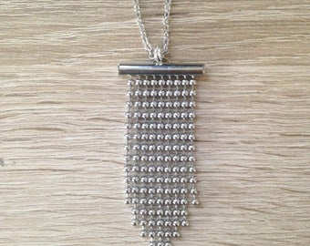 Long necklace silver pendant and nickel free metal balls