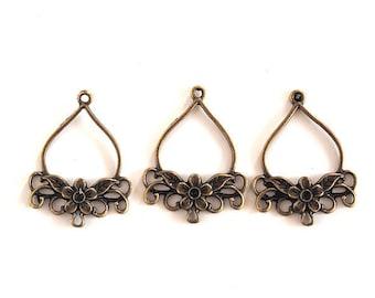 2 connectors chandeliers earrings bronze brass