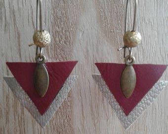 Bronze leather triangles, Burgundy, beige, sleeper and metal charm earrings