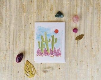 Saguaro + Purple Prickly Pear Cacti Greeting Card