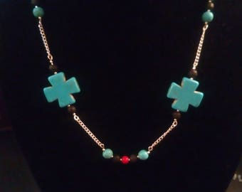 Turquoise dyed Howlite and Silver Necklace.