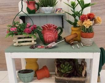 Miniature Potting Bench, Dollhouse Potting Bench, Miniature Gardening Table, Miniature Plants, Miniature Furniture, Miniature Garden Bench