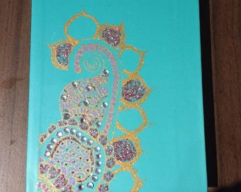 Hand Decorated Henna Notebook / Diary