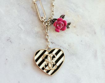 Heart black and white coloured and rose charm chain necklace