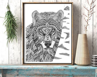 Wolf with Birch pen and ink illustration print limited edition signed and numbered