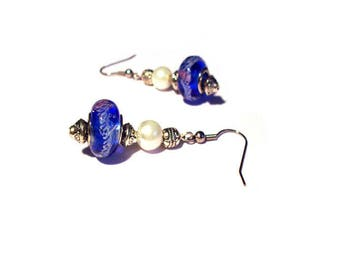 Retro earrings, blue murano glass beads