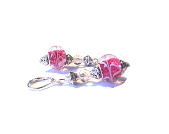 Vintage earrings 925 sterling silver, glass bead pink background
