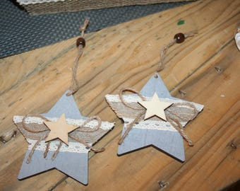 2 stars Christmas hanging Wood taupe and grey lace