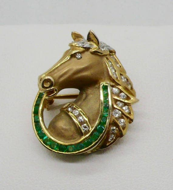 Vintage 14K Gold Horse Pendent/Pin with Diamonds and Emeralds