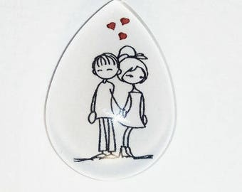 18x25mm drop cabochon, couple standing
