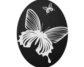 18x25cm, butterfly, white on black