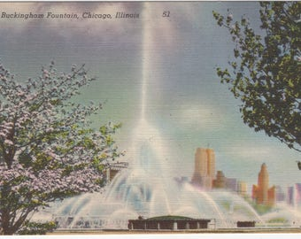 Vintage Linen Postcard - Buckingham Fountain - Chicago, Illinois IL