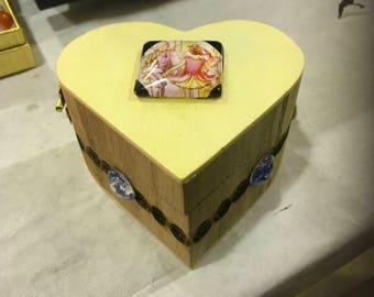 Heart shaped Wooden Fairy Box