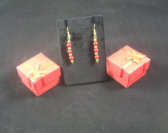 Red and gold fish hook earrings