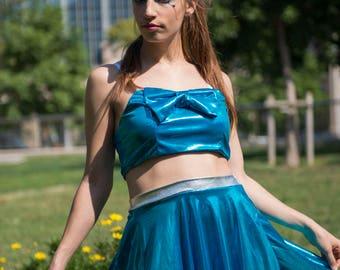 Caramel Shiny Elastic Blue Flared Skirt