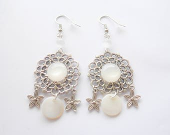 Earrings floral silver grey and white