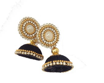 GUNU Black Handmade silk Thread Earring