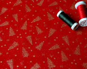 Fabric patchwork red pattern Christmas trees and stars gold plated