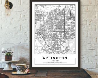 Arlington, Texas, City map, Poster, Printable, Print, Street map, Wall art