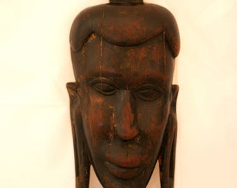 African Tribal Mask Wall Art Handcarved