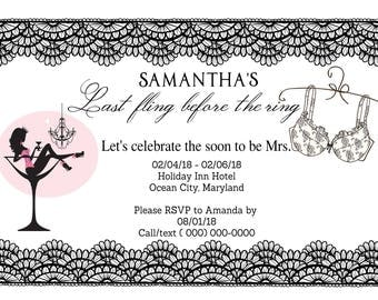 Bachelorette Lace Party Invites - sold in sets of 5