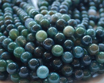 """High Quality Grade A Natural Moss Agate Semi-precious Gemstone Round Beads - 4mm, 6mm, 8mm, 10mm sizes - 16"""" strand"""
