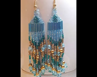 Shades of Blue and Gold Beaded Dangle Earrings