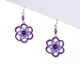 Small purple and Lavender Rose lace earrings