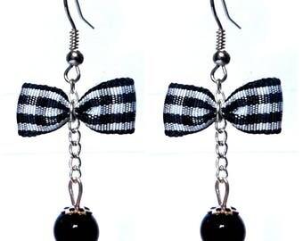 Glamorous retro black and white gingham bowtie BB earrings