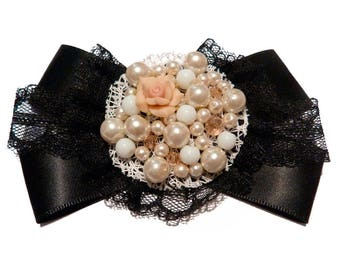 Black spirit brooch Gothic Victorian satin lace bow beads fimo and Pearly beige and cream