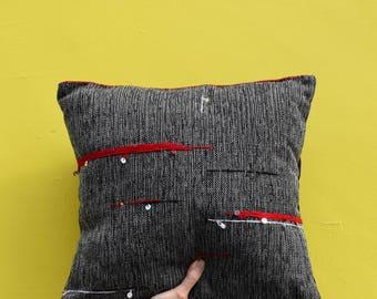 Asimmetric decorative pillow, abstraction, art, cushion, sequins