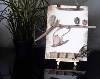 Pebbles, driftwood birds painting