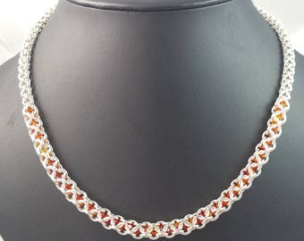 Sterling Silver Captured Bead Chainmail Necklace