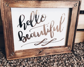 Hello Beautiful Framed Canvas   Encouraging   Hand Lettered   Wall Art