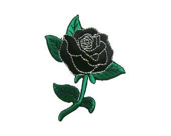 Black Rose Iron On Patch Tattoo Embroidered Applique Biker Patches For Jackets