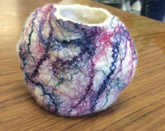 Handmade Felted Vase with silk strands