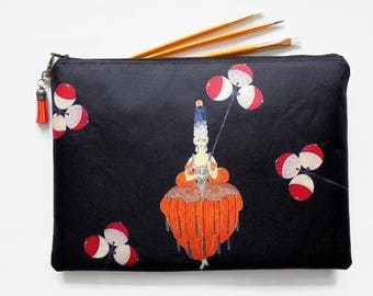 Gifts for her, Wash bag, Erte inspired, art deco, 1920s, pocket bag, travel bag, cosmetic bag, zip bag, make up bag, cosmetic pouch.